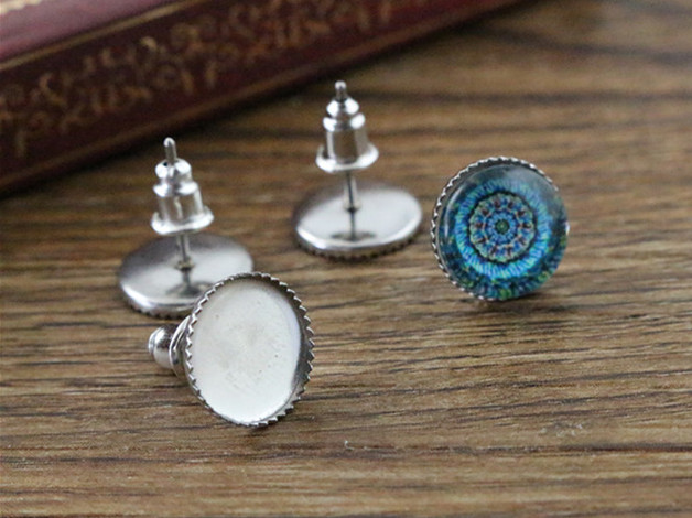(Never Fade) 20pcs 10mm Stainless Steel Earring Base Studs Ear Cameo Settings Cabochon Base Tray Blank (With Back)-T6-07