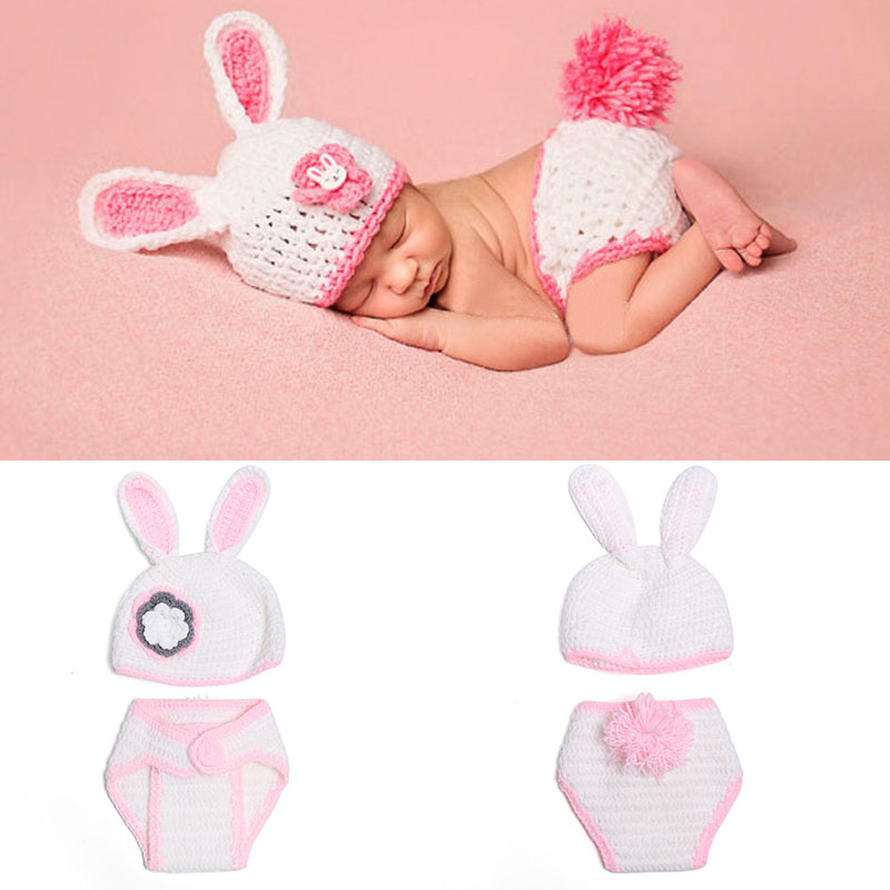 Baby Photo Props Rabbit Bunny Hat Costume Pink Crochet Clothing A105 Girls Boys Handmade Fotografia Clothes Newborn Shower Gifts-in Hats u0026 Caps from Mother ...  sc 1 st  AliExpress.com & Baby Photo Props Rabbit Bunny Hat Costume Pink Crochet Clothing A105 ...