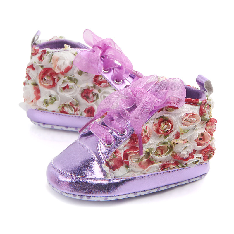 Purple Lace Princess Rose Flower Baby Girl First waker shoes Lace-Up Infants Sports Sneakers for prewalkers Boot