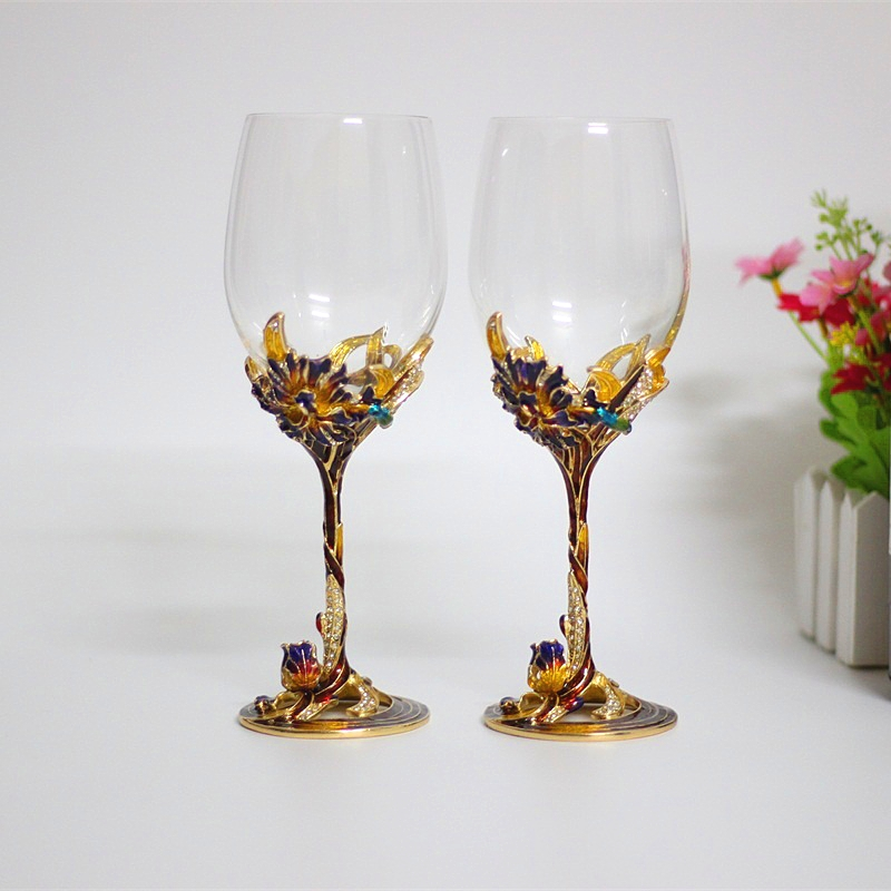 Colored Enamel Red Wine Glasses Crystal 300 400ml Drinking