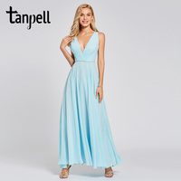 Tanpell Backless Evening Dress Sky Blue Beaded Sleeveless Ankle Length A Line Gown Women Prom Party