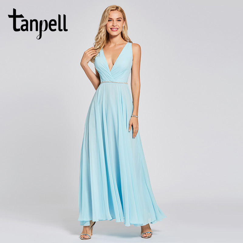 Tanpell backless   evening     dress   sky blue beaded sleeveless ankle length a line gown women prom party long formal   evening     dresses