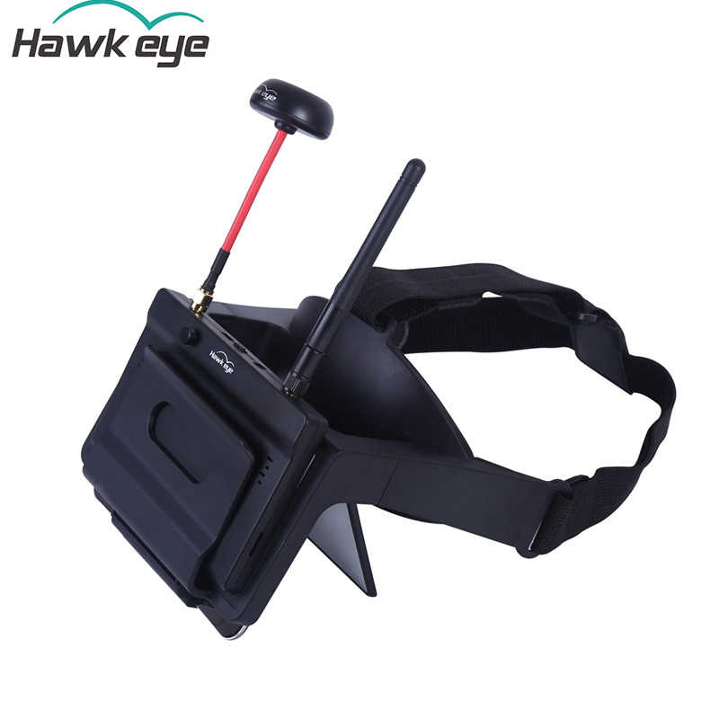 Hawkeye Little Pilot VR All-in-one 5 Inches True Diversity FPV Monitor 5.8G 48CH Dual Receiver Foldable Goggles for RC Drone