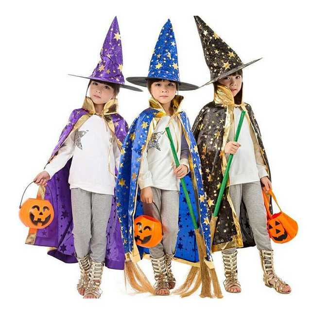 boy girl kids children halloween costumes witch wizard cloak gown robe with hat cap stars fancy