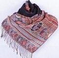 Fashion Black Women's Silk Pashmina Shawl Scarf Wrap honeybee flower Free Shipping Wholesale Retail FF-XMF12