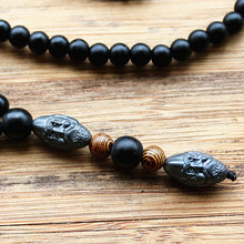 Men's Vintage Style Beaded Necklace with Hematite Stone