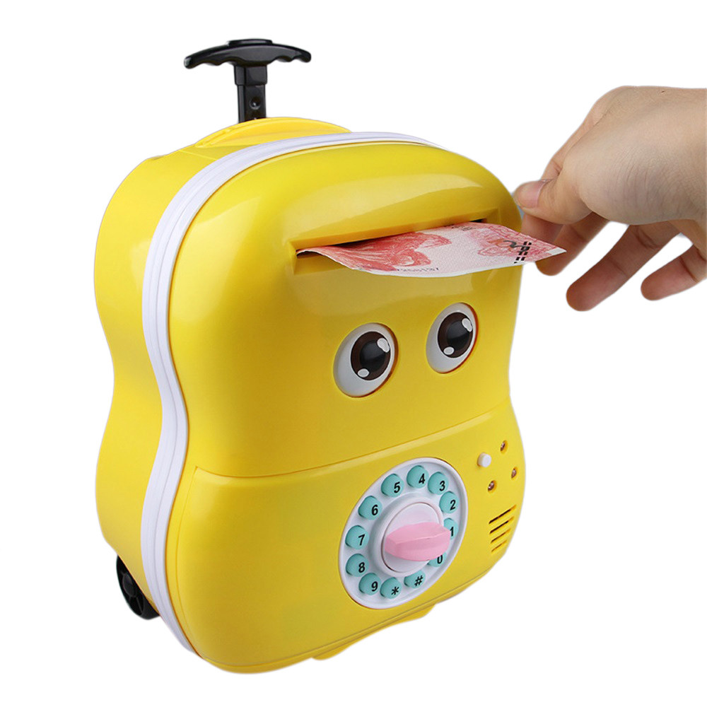 Carino Meng bambino Rotolo Automatico Musica Trolley Casella della Password Salvadanaio Bambino
