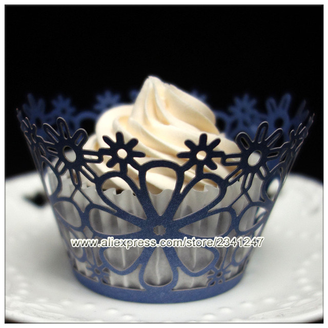 Stocked High Quality 24pcs Pearl Paper Dark Blue Flower Lace Cupcake Wrappers For Wedding Birthday Cake