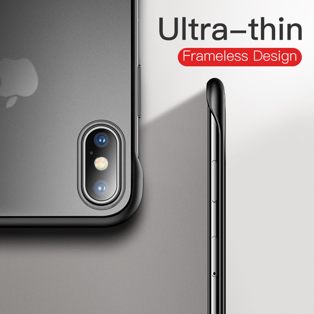 iPhone X XS Max XR 8 7 Plus Frameless Frosted Luxury Shockproof Back Case Cover With Metal Ring