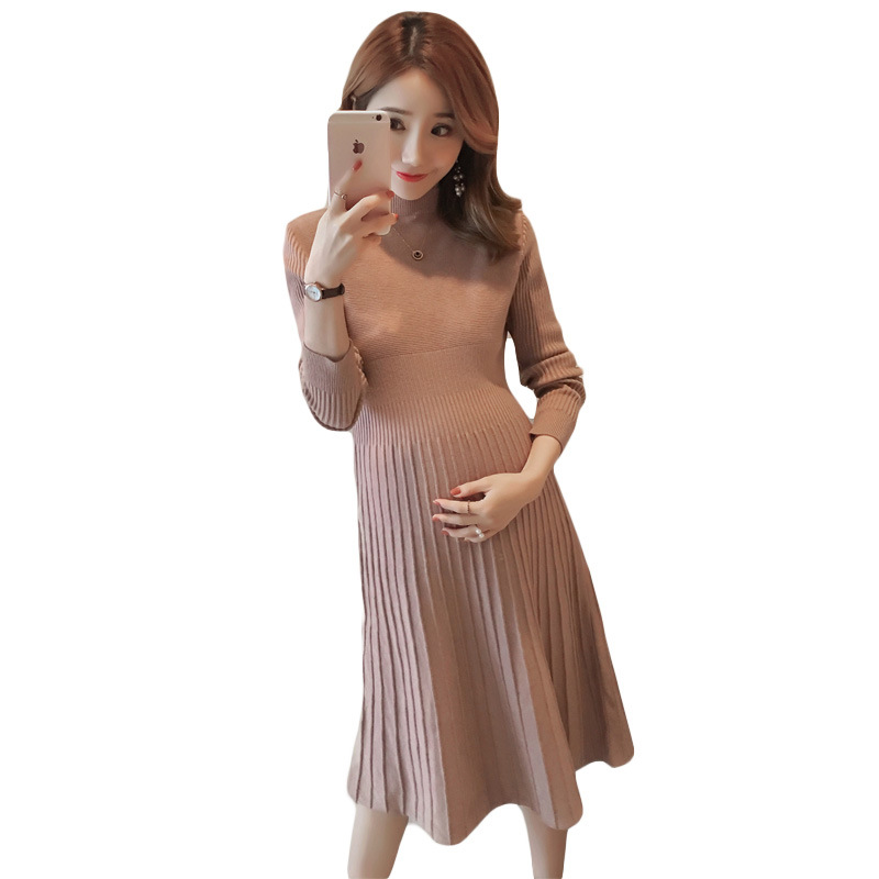 2018 new autumn and winter pregnant women dress long-sleeved Korean ladies sweater pregnant women knitted dress maternity dress hmchime 2017 autumn women high elastic knitted dress fashion sexy patchwork round collar long sleeve woman sweater dress hm703