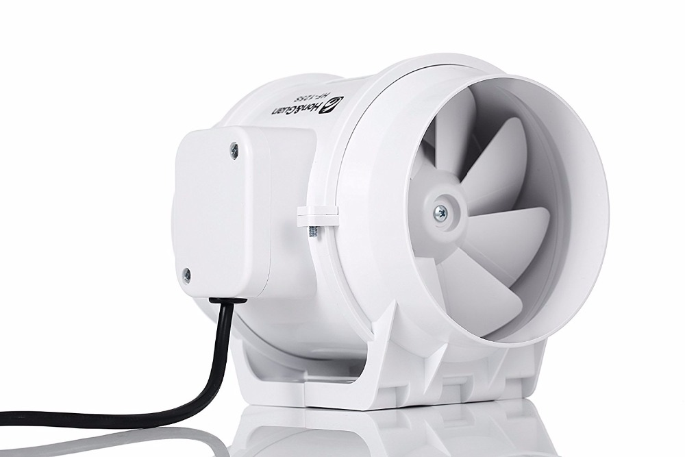 Hon&Guan 5 HF-125S Extractor Exhaust Fan Mixed Flow Ventilation System Exhaust Air for Bathroom Kitchen 5Inch Inline Duct Fan orix 24v 1a cross flow ventilation fan mfd915 24a f1