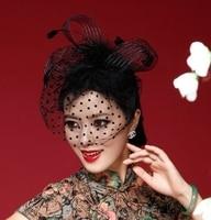 vintage fascinator מיני teardrop כובע עם פולקה כלוב ציפורים רעלה שחור נוצת רצועת כלים מפלגה כסוי ראש קבוע על ידי hairgrip wigo0033