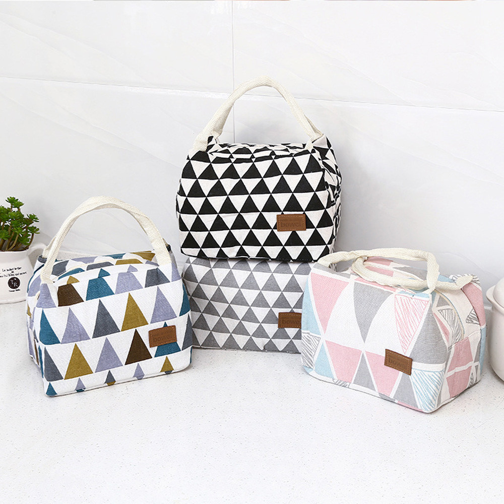 Portable Grid Pattern Lunch Bag For Women Kids Men Insulated Canvas Box Tote Bag Thermal Cooler Food Bag