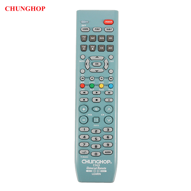 CHUNGHOP E969 8 In1 Smart Universal Remote Control For TV SAT DVD CD AUX VCR universal remote control for tv vcr sat cable vcd dvd ld cd amp 2 aa