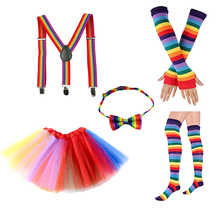5pcs/4pcs/Set 2-16Y Girls Kids Children Clothes Cotton Girl Adult Rainbow Unicorn Headband Bow Tie Glove Tights Tutu Skirt Sets