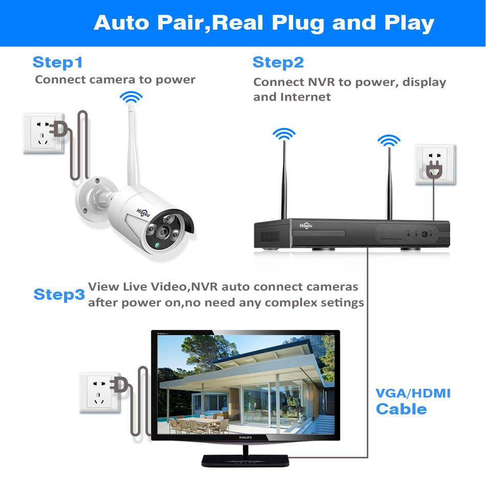 Sistema de CCTV inalámbrico Hiseeu 8CH 1080P 1TB 4 Uds 2MP NVR wifi IR-CUT cámara CCTV al aire libre sistema de seguridad IP Kit de videovigilancia - 5