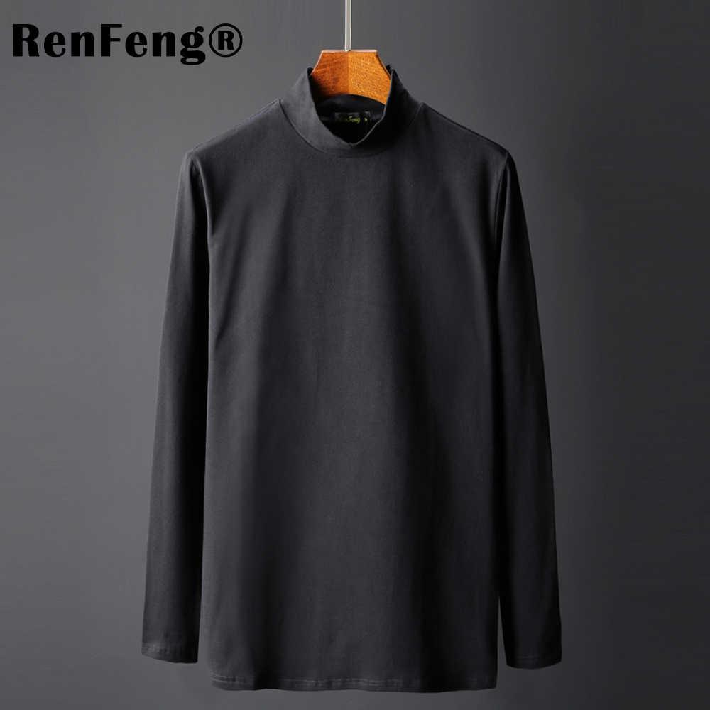2019 модная одежда мужская футболка с длинными рукавами пустая черная серая футболка для мужчин нижнее облегающее белье водолазка Ночная теплая рубашка