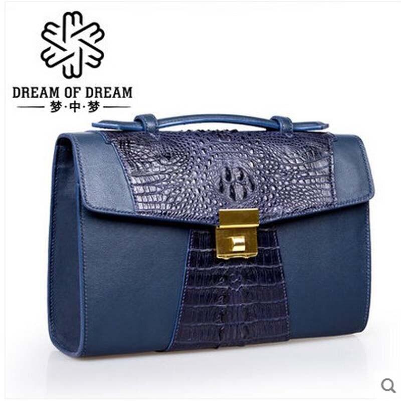 mengzhongmeng Crocodile leather handbag commercial cow leather man bag large capacity hand bag of leather handbag men's purse