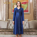 VOA Deep Blue Chinese Brocade Silk Dress Women V Neck Embroidery Midi Dresses Winter Party Long Sleeve Luxury Vintage A10093