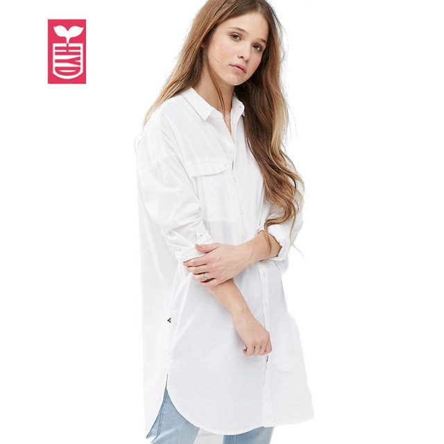 HYD Oversize Boyfriend Style Ladys White Knitted Cotton Leisure Blouse Womens Long Sleeve Long Shirts Female Tops Tees Autumn
