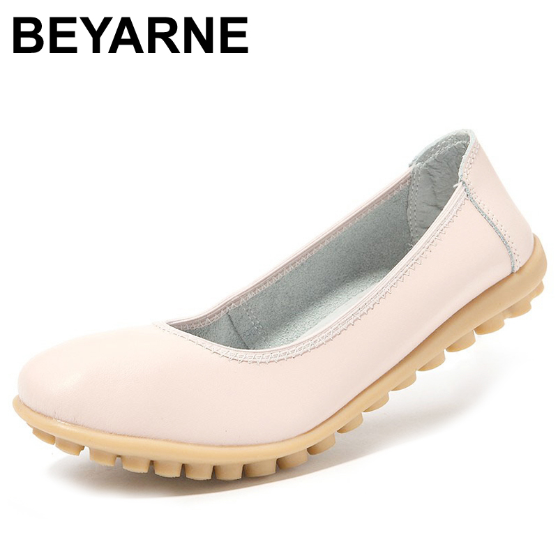 BEYARNE Plus Size High quality Ballet shoes women genuine leather office work shoes female flat shoes Women flats moccasins texu new 2017 high quality women genuine leather flats shoes cut outs ballet women flats comfort shoes woman moccasins