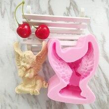 3d engel formen zucker kuchen silikonform mit flügeln baby engel DIY aroma gips formen seifenherstellung kerze form backen werkzeuge