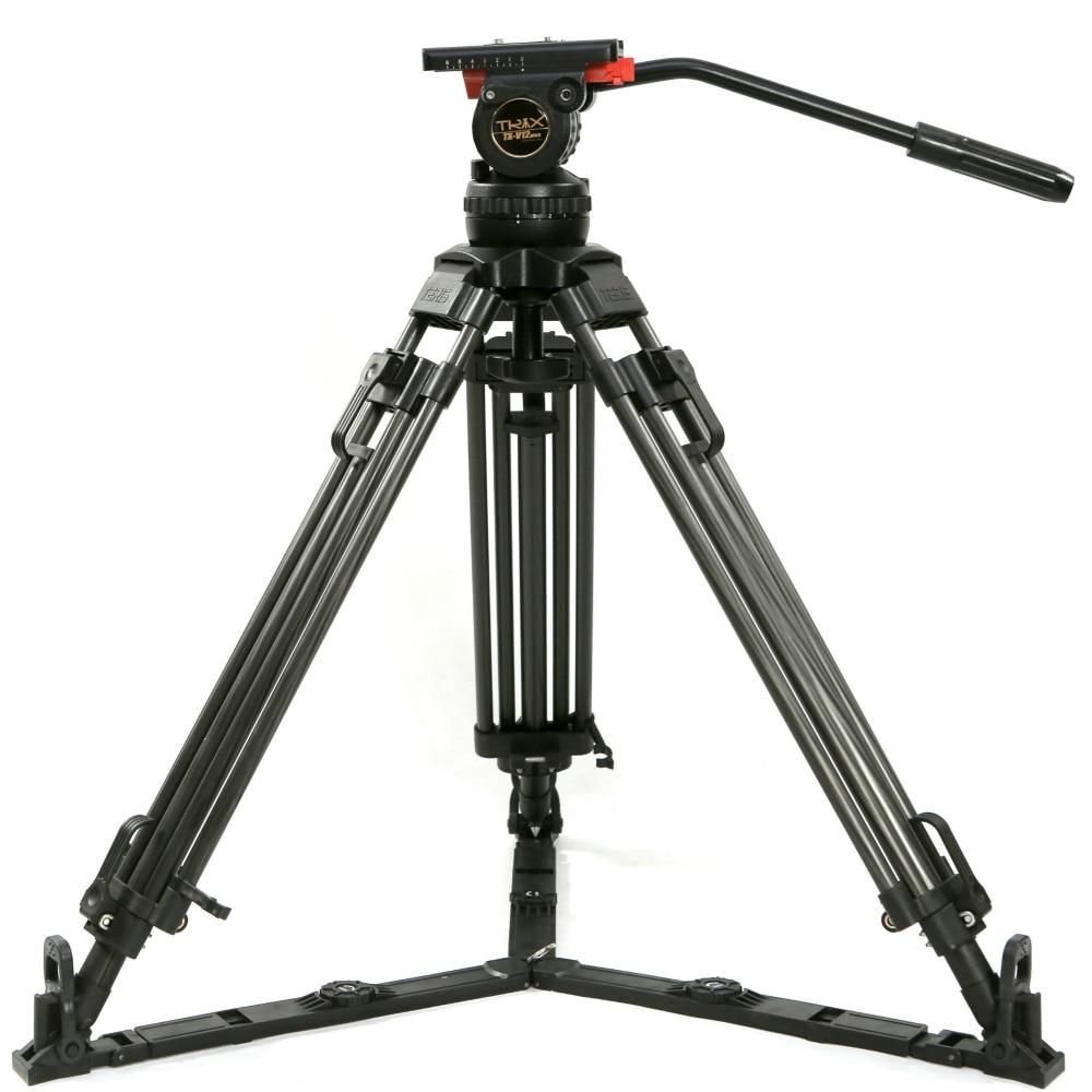 TERIS 65 V12T trípode profesional de fibra de carbono trípode de cámara de vídeo con carga de cabeza fluida 12 kg para TILTA Rig Red Scarlet Epic FS700