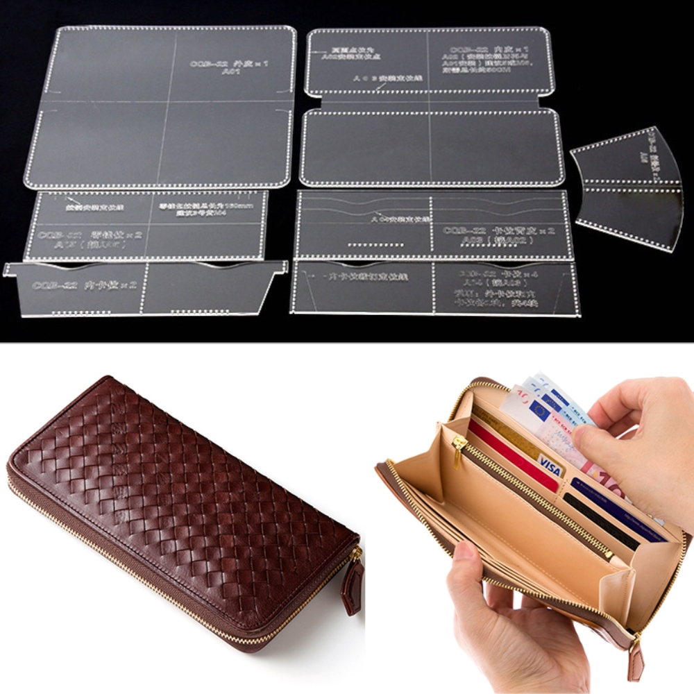 7 Pcs DIY Acrylic Clear Multi Pocket Long Zip Purse Wallet Stencil ...