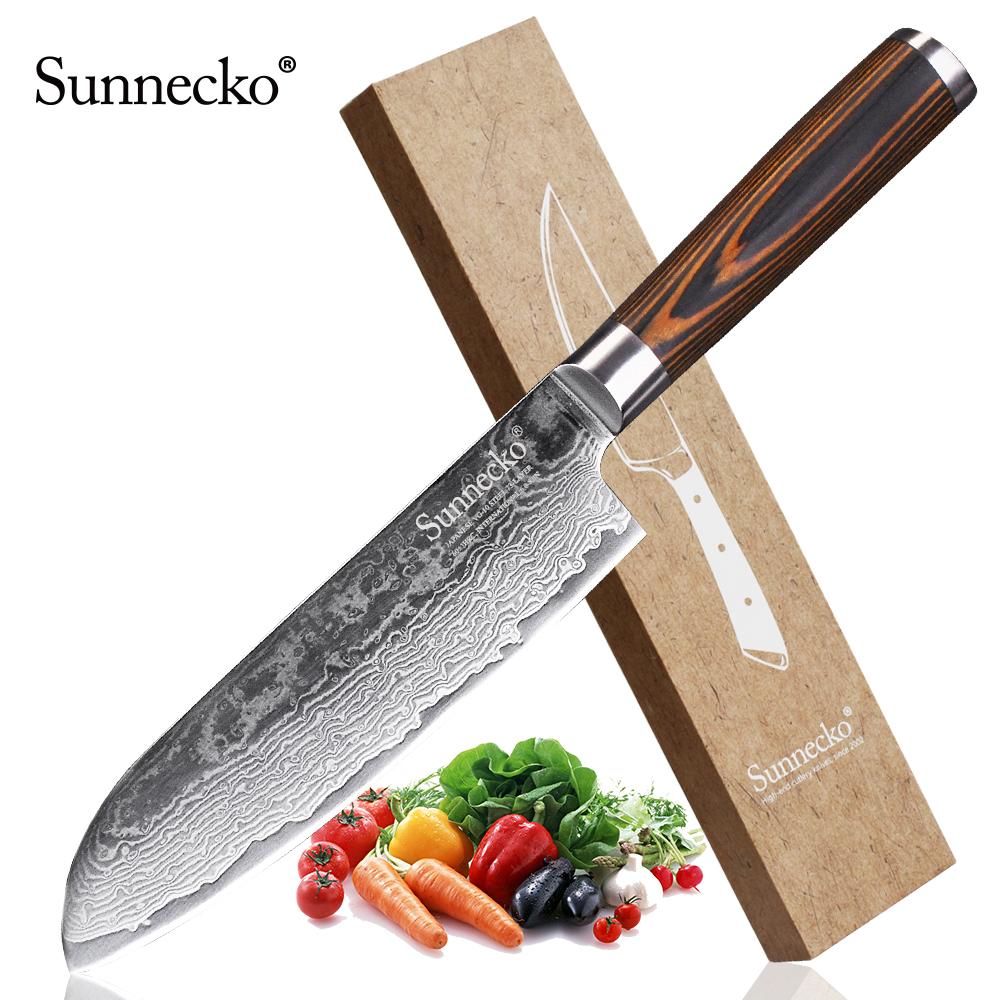 Sunnecko 7 Pouces Damas Santoku Couteau Japonais Vg10 Acier Forte