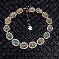 Clássico pulseira de prata opala 7.5ct 15 pcs pedra preciosa opala natural pulseira 925 prata esterlina sólida pulseira de presente de luxo para a menina