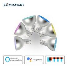 6 peças gu10 rgbw led trabalho de luz com alexa echo google assistência em casa ifttt suporte app controle temporizador de voz lâmpada casa inteligente