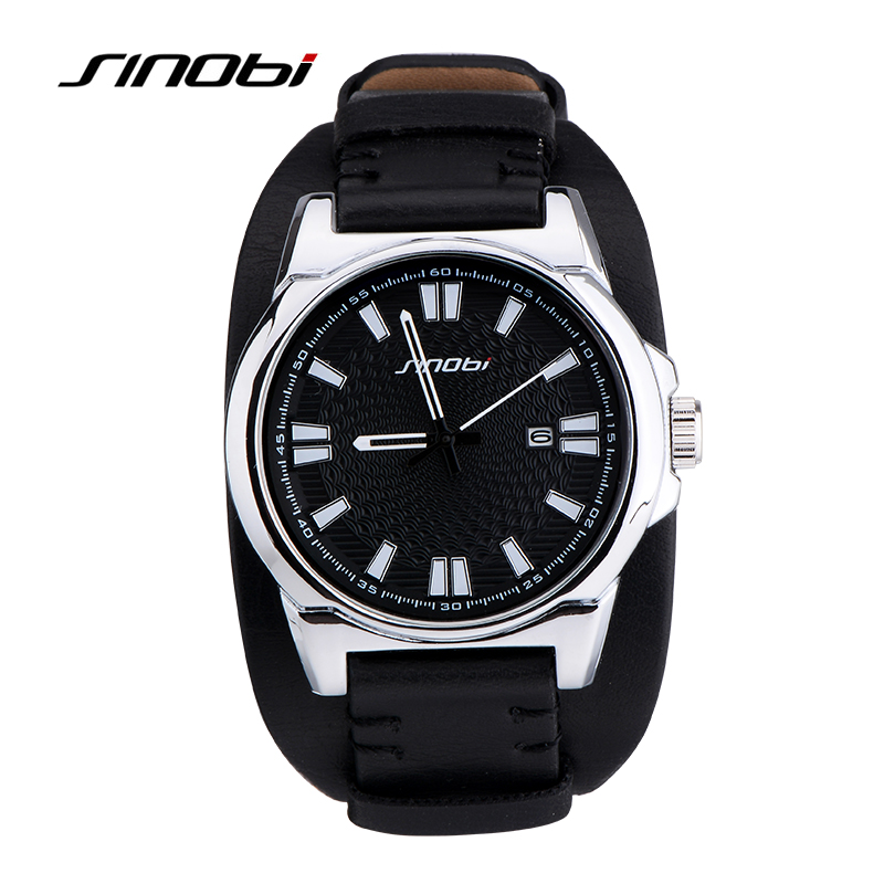 SINOBI Mens Sports Military Wristwatches Luxury Brand Waterproof Leather Watchband Male Charm Army Quartz Watches Relojes Hombre
