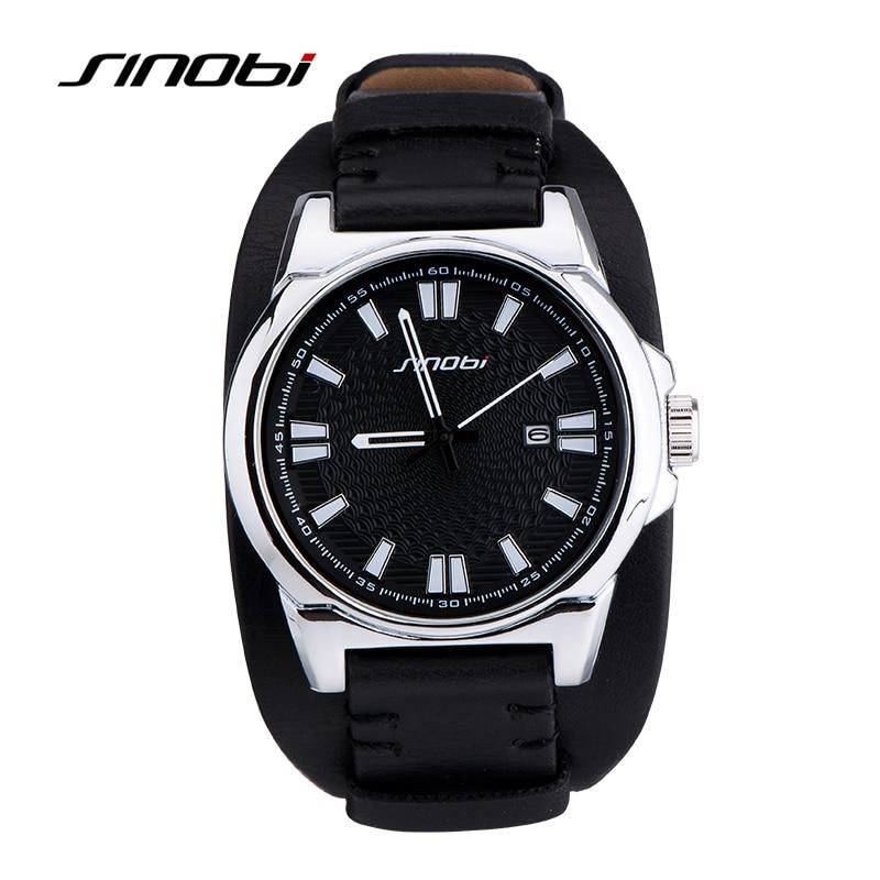 SINOBIメンズスポーツミリタリー腕時計高級ブランド防水レザー時計バンド男性チャーム軍クォーツ時計Relojes Hombre
