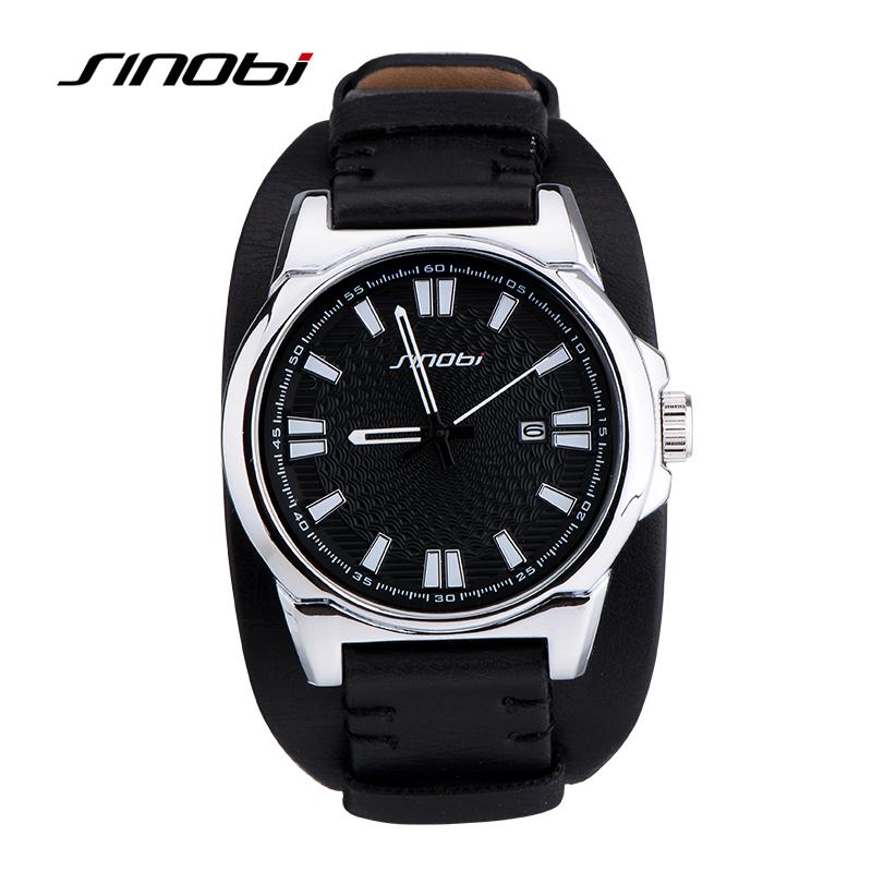 Prix pour Sinobi mens sport militaire montres de luxe marque étanche bracelet en cuir charme masculin armée quartz montres relojes hombre