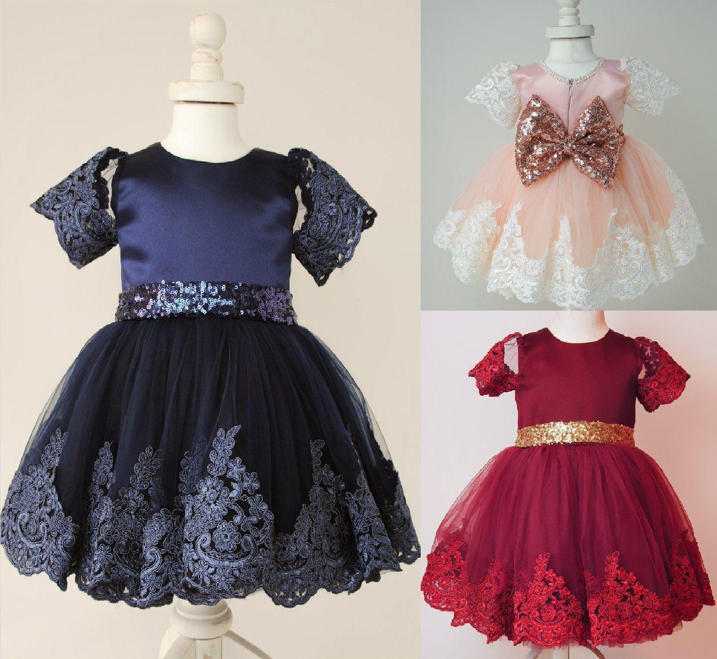 2PCS Newborn Girls Kids Bow Lace Ball Gown Dress Birthday Formal Wedding Costume