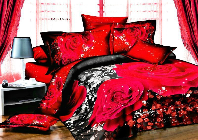 Good Low Price 3D Bedding Set 4pcs Big Rose Printing Black Red Quilt Cover  Bedsheet Pillowcases Free Shipping Some Countries B2685 In Bedding Sets  From Home ...