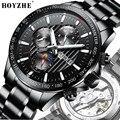 Мужские часы люкс для мужчин boyzhe бренд наручные часы из нержавеющей стали механический автоматический человек часы водостойкие многофункц...