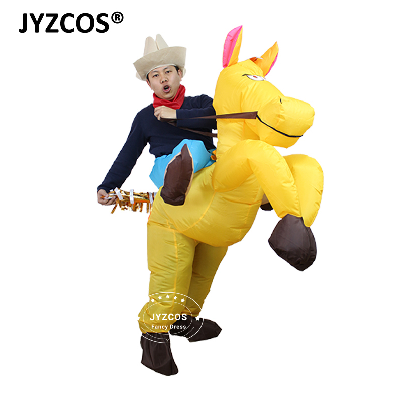 White Gold Coffee Black Horse Inflatable Costume Cowboy Cowgirl Christmas Costume Cosplay Carnival Horse Rider Halloween Costume