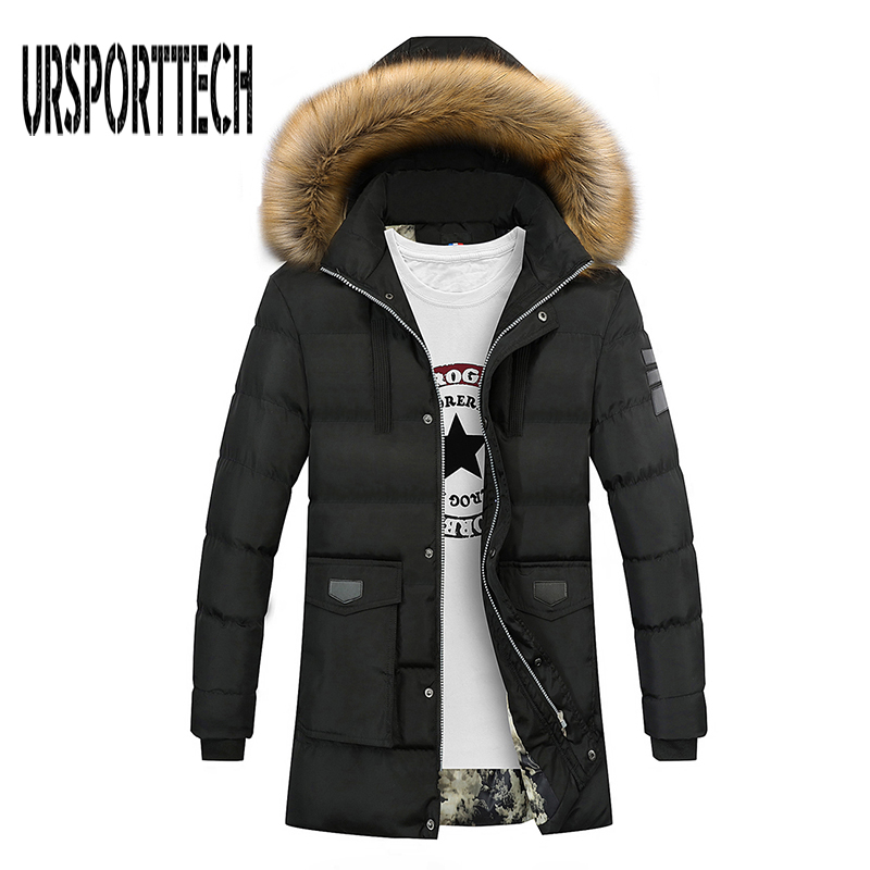 2017 Winter Parkas Jacket Men Long Thicken Warm Coat Fashion Cotton-padded Faux Fur Hooded Outwear jaqueta masculina inverno star style luxury fur collar hooded winter coat female parkas thicken warm plush cotton padded jacket long removeable outwear