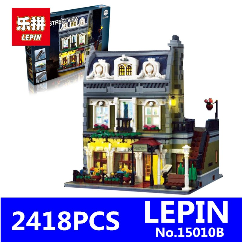 Streetview Series LEPIN 15010B 10th Anniversary The Parisian Restaurant Set with Light Version Building Blocks Bricks Toys 10243 new lepin 15010 expert city street parisian restaurant model building kits blocks funny children toys compatible with 10243 gift