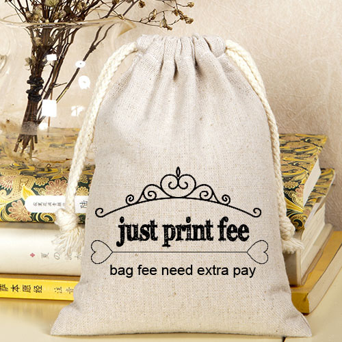 Linen Jute Velvet Drawstring Bag print fee , just print fee not including bag fee design fee for plastic bag usd50
