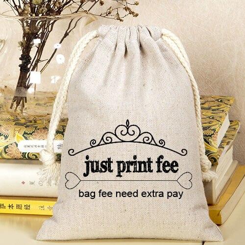 Linen Jute Velvet Drawstring Bag print fee , just print fee not including bag feeLinen Jute Velvet Drawstring Bag print fee , just print fee not including bag fee