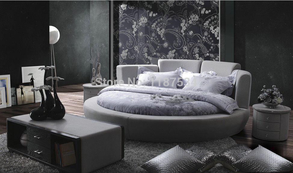 Luxury extra large size round bed,Top grain leather Soft Bed, Best ...