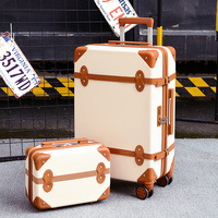 Two piece Set of Trolley case,Password lock box,Retro suitcase,Universal wheel 24student cute luggage,Fashion valise