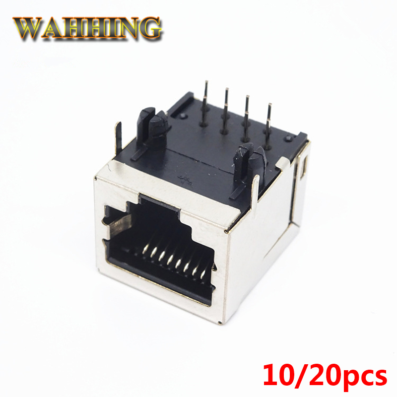 10pcs PCB Mounted RJ45 8P8C Network Modular Connector Socket Jack Adapter