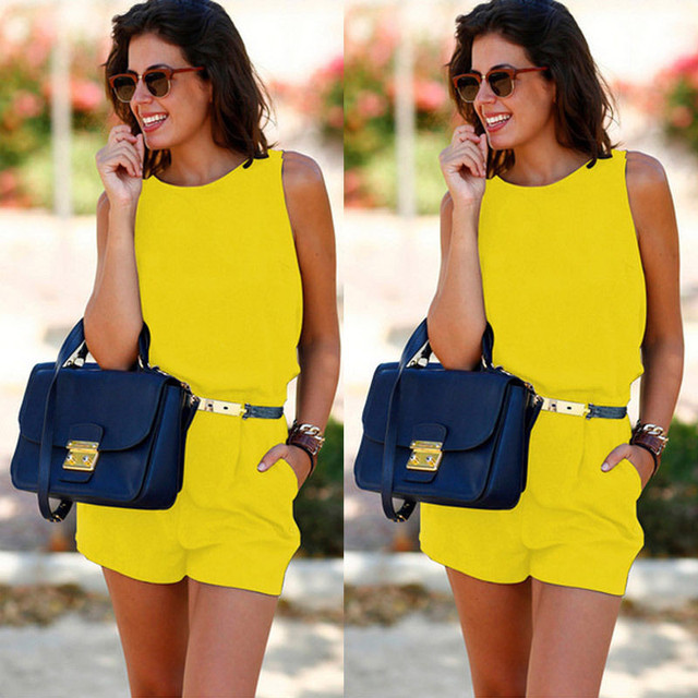Casual Solid Playsuit Overalls For Women Rompers Ladies Summer Backless Bodycon Combines Female Party Overalls Women's Clothing 3
