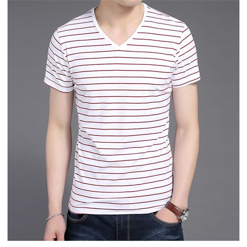 Liseaven New Men V Neck Striped T-shirt Short Sleeve tshirt Fashion Men's tees Clothing 2