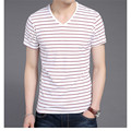 New Men V Neck Striped T-shirt Short Sleeve Fashion Men's tees