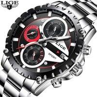 LIGE Men S Watch Top Brands Luxury Sport Waterproof Quartz Watches Men Clock Chronograph Relogio Masculino
