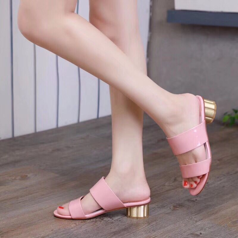 Fast deliery 2019 summer high heel women slippers genuine patent leather slides outside sweet causal women
